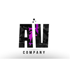 Purple black alphabet letter av a v logo vector