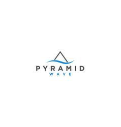 Pyramid wave modern technology logo design vector