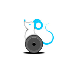 rat robot on wheels cartoon character mouse vector image