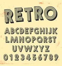 retro line font template set vintage letters vector image