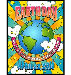 Retro psychedelic earth day poster banner design vector