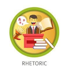 Rhetoric subject studies themed concept logo vector