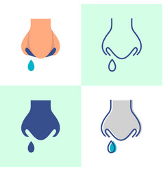 Runny nose icon set in flat and line style vector