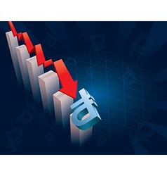 Russian Ruble currency symbol crashing vector