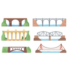 Scenic views with bridges set vector