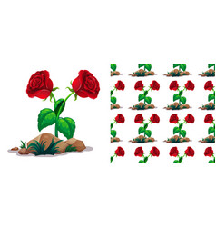 seamless background design with red roses vector image