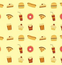 Seamless fastfood restaurant theme pattern vector