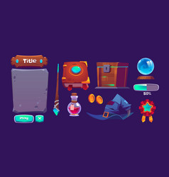 set magic game interface elements vector image