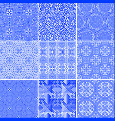 Set modern and ancient seamless greek patterns vector