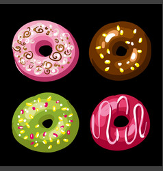 set of tasty donuts vector image