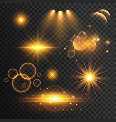 Set of transparent lens flare and light effects vector