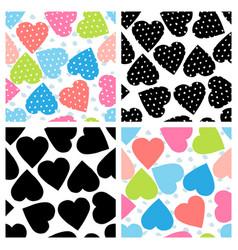 set seamless patterns with polka dot hearts vector image