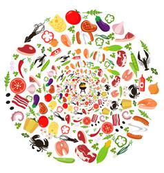 set vegetables for grilling vector image