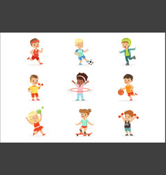 small kids playing sportive games and enjoying vector image