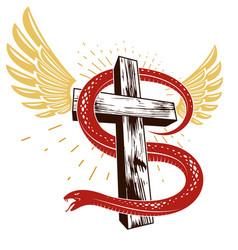 Snake wraps around christian cross struggle vector