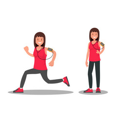sportswoman during and after a run vector image