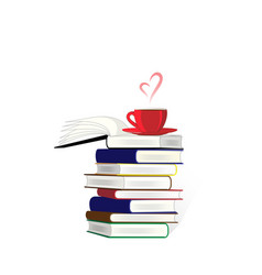 Stack books and a cup coffe or tea on the vector