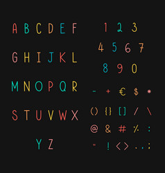 Styled alphabet and symbol set vector