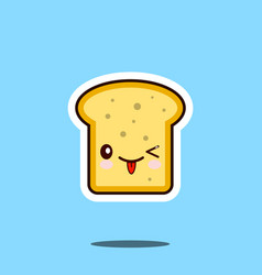 Toast kawaii cute design flat cartoon icon vector