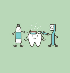 Toothbrush and toothpaste brushing teeth to tooth vector