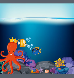 Underwater scene with octopus and fish vector