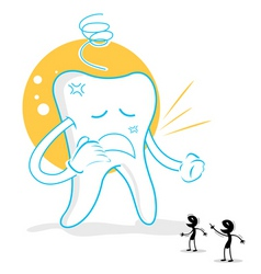 upset teeth with germs vector image