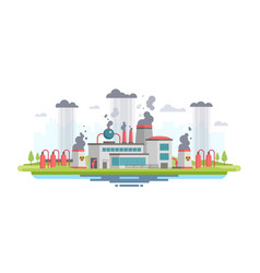 Urban landscape with plant - modern flat design vector