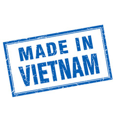 Vietnam blue square grunge made in stamp vector