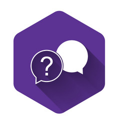 White chat question icon isolated with long shadow vector