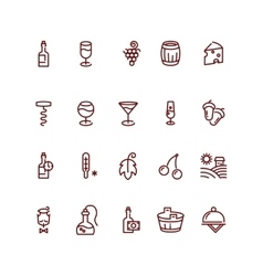 Wine and sommelier line icons vector image