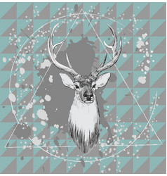 With deer head hand drawn vector