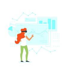 Woman in virtual reality glasses vector