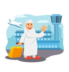 Women in airport ready for hajj pilgrimage vector