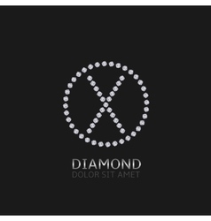 X letter with diamonds vector image