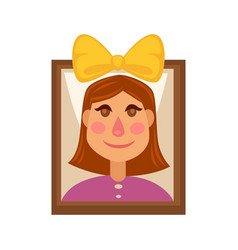 Young girl with yellow head bow on picture in vector