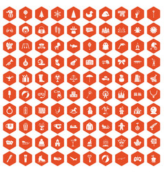 100 children icons hexagon orange vector image