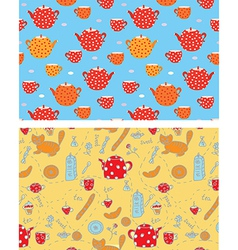 Funny tea banners with sweets cats vector image