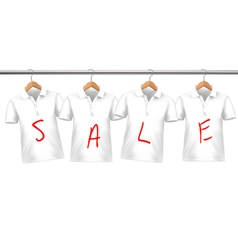Shirts on sale hanging on hangers Concept of vector image vector image