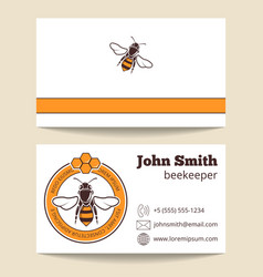 Beekeeper business card template vector image vector image