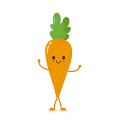 cute smiling carrot character vector image vector image