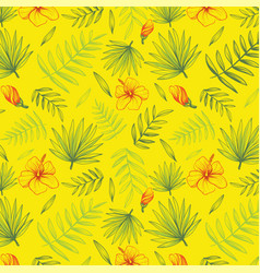 hand drawn floral background with palm leaves vector image