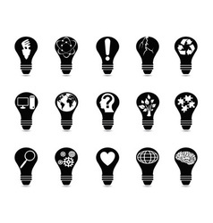 light bulb idea icons set vector image vector image