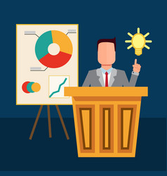The businessman pointing to the bulb vector