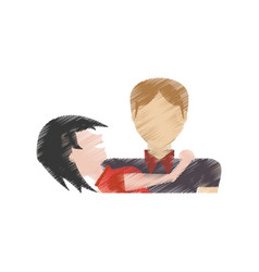 drawing couple together relation vector image