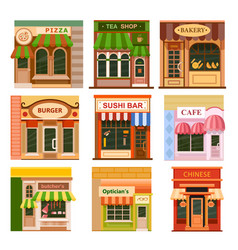 flat shop store icon set vector image