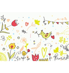 Floral cute banner with flowers birds hearts vector image vector image