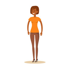 full-length portrait of afro beautiful young girl vector image