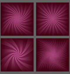 Gradient spiral and ray burst background set vector image vector image