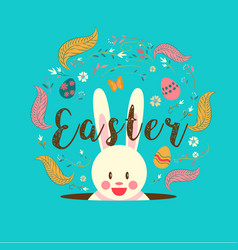 happy easter typography bunny egg spring vector image
