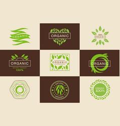 organic 100 percent product logo template set vector image vector image
